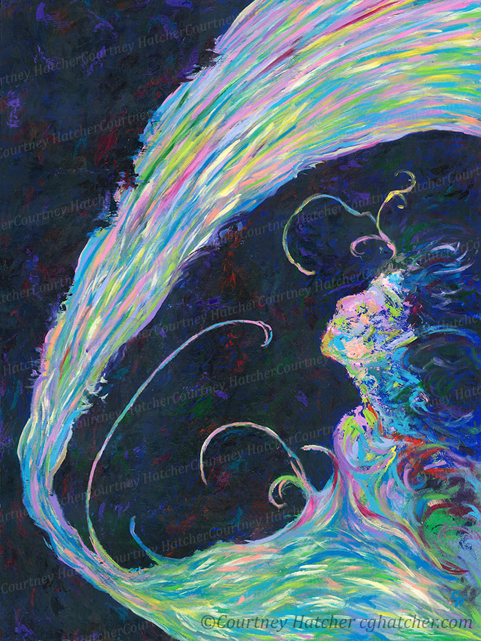 """Becoming"" an abstract painting, done with acrylic paint, brushes and palette knives, by Courtney Hatcher. Vibrant swirls of color emerging from a dark background to form a beautiful woman.  Rebirth and energy."