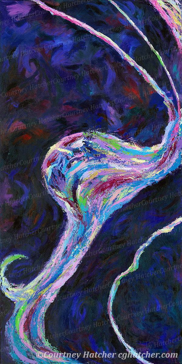 Conversion is a painting of a person just beginning to form in an abstract landscape of texture and brilliant color. By Courtney Hatcher, Abstract Artist. Emotional expression, texture and movement. Turning from one form into another.