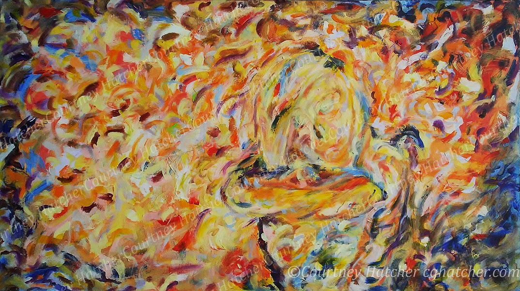 Cosmos, dynamic acrylic painting, yellow and orange tones, by Courtney Hatcher.  Abstract artist, gesture and expression. Representing the boundless vision of our internal landscapes and our deep connection to the universe.