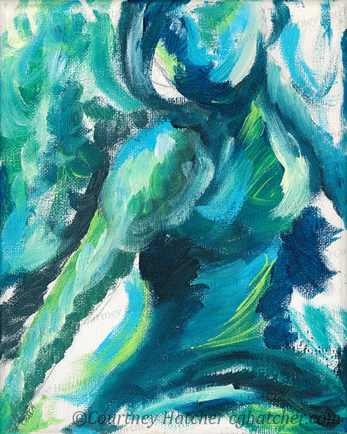 Listen, an abstract gesture painting by Courtney Hatcher. Expressive brushstrokes and dynamic movement. Female figure art. Teal, turquoise, blue and lime green. A need to pay attention in the moment. Don't let worry over the future make you miss what is right in front of you.