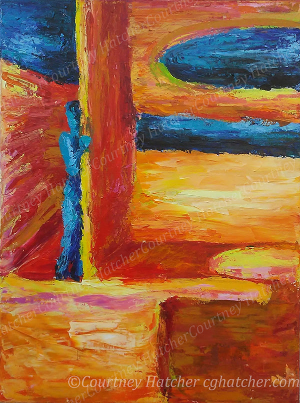 Architectural painting by abstract artist Courtney Hatcher. Lonely Boy, painted with the palette knife. Desolate landscape, sensation of loneliness, bravery to come out of the shadows. Bright yellow, orange, red with blue.