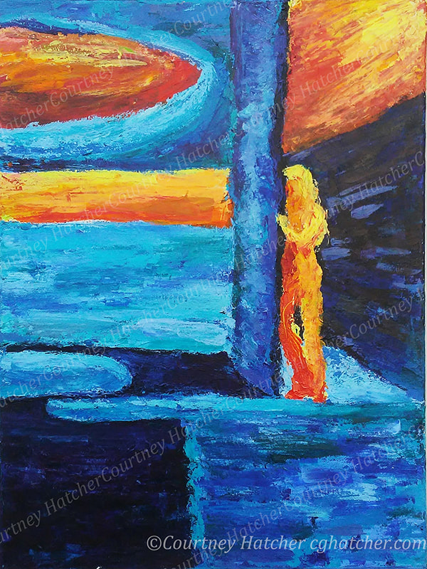 Abstract emotional painting by C. G. Hatcher. Palette knife, thick texture, bold electric blues with fiery reds and oranges. Cold stark architecture with a blazing figure emerging around a corner. Loneliness with hope.