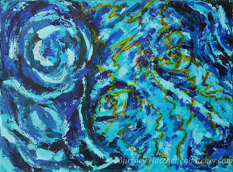 Poison, blue abstract painting of female face, by Courtney Hatcher, yellow veins run through the abstract face, the problem runs deep. Palette knife and brush. Self portrait.