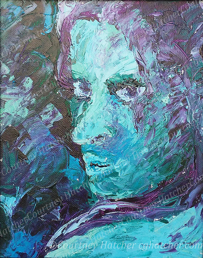 Secret, a palette knife painting by Courtney Hatcher. Cool blues and purples. Self-portrait. Things hidden, the unknown. Unshared thoughts. Keeping your own confidence.