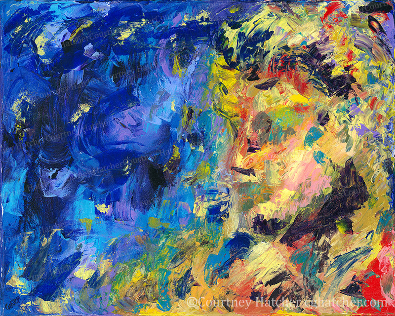 Self-Worth, by Courtney Hatcher. Self-portrait in bright yellow against a menacing background of blue.  Hidden skull. Abstract fall landscape. Expressive texture. The shining potential of the individual and the darkness of self-doubt.