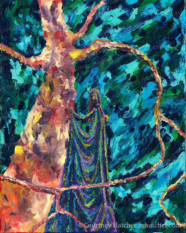 By Courtney Hatcher. Synthesis, abstract acrylic painting, female figure entwined with a tree. Desolate, large landscape. Connection to your environment. A person's energy reflected within their environment.